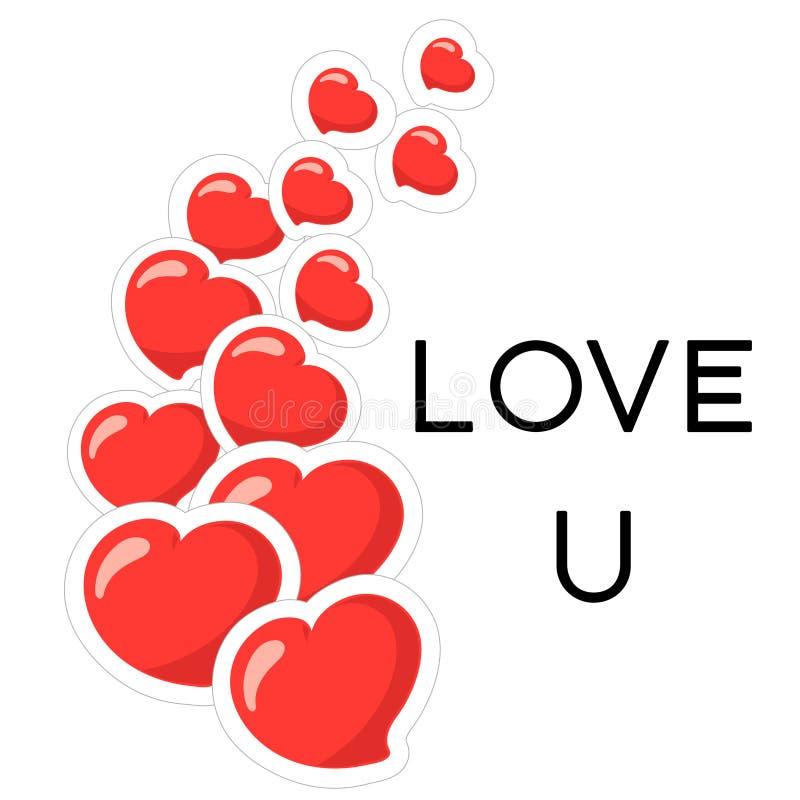 De stickers van het hartpictogram De kaart van de groet Vector illustratie De tekst van liefdeu binnen stock illustratie