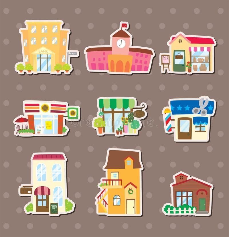 De stickers van het huis en van de winkel stock illustratie