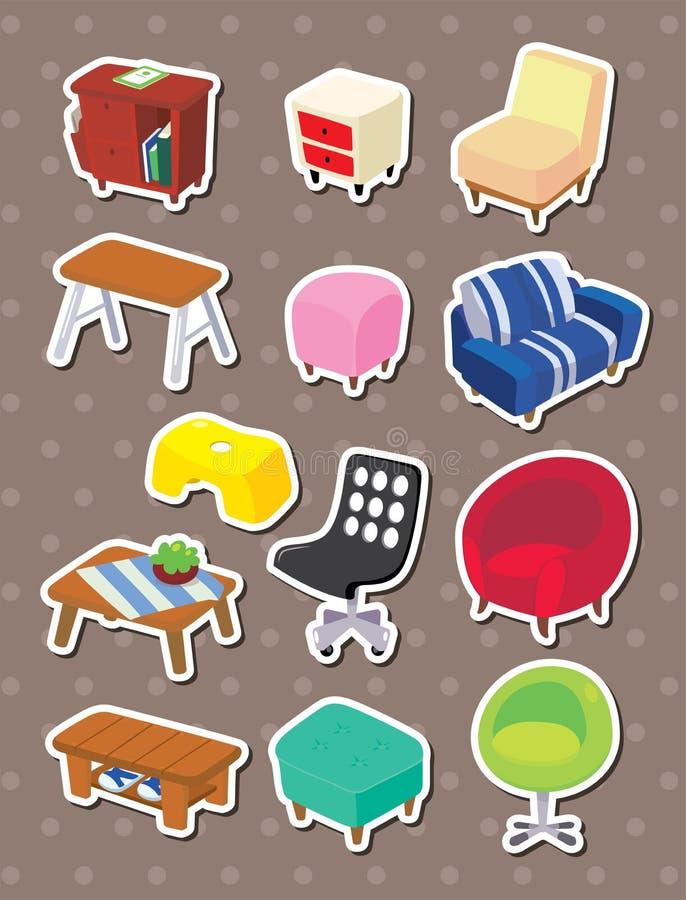 De stickers van het Meubilair van het beeldverhaal vector illustratie