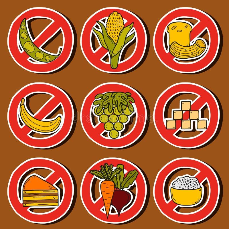 De stickers van het Paleodieet royalty-vrije illustratie