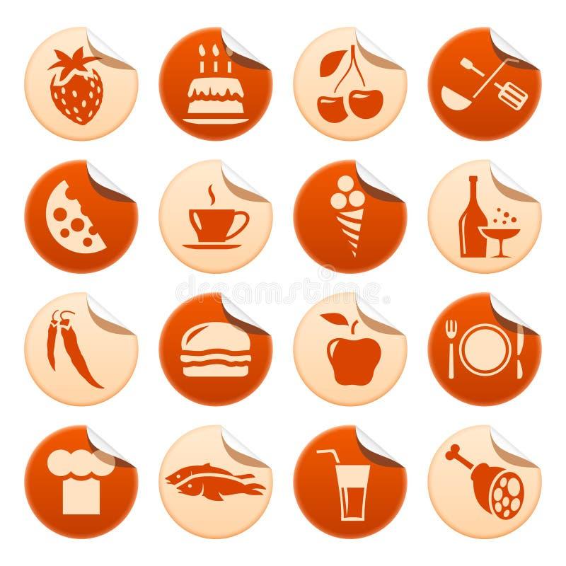 De stickers van het voedsel & van de drank royalty-vrije illustratie