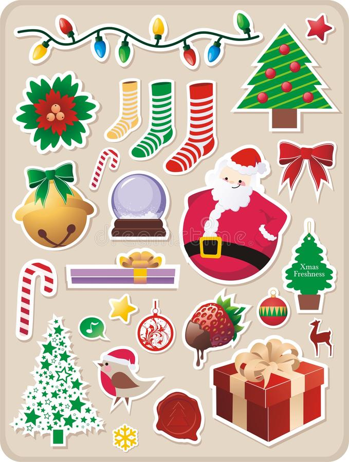 De stickers van Kerstmis stock illustratie