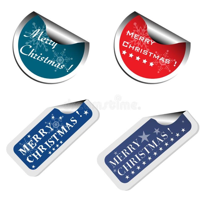 De stickers van Kerstmis stock illustratie