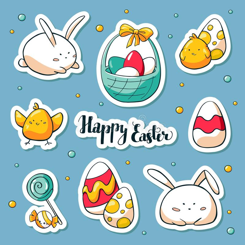 De stickers van de lentepasen in doolestijl die worden geplaatst Vectorhabd getrokken Illustratie Inzameling van gelukkige Pasen- royalty-vrije illustratie