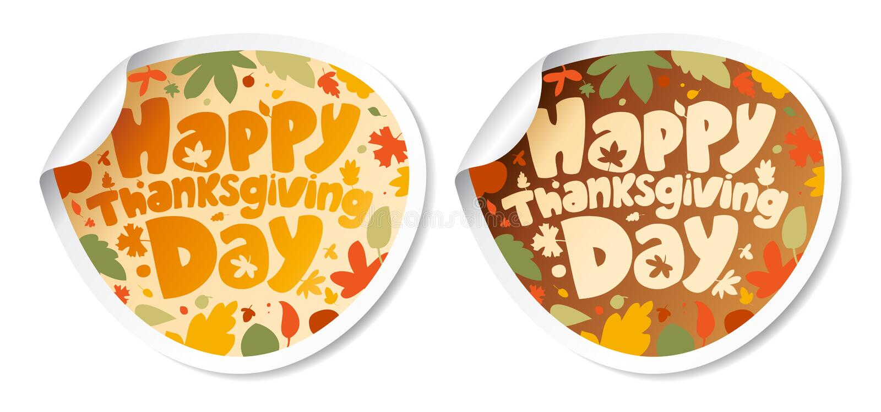 De stickers van thanksgiving day. royalty-vrije illustratie
