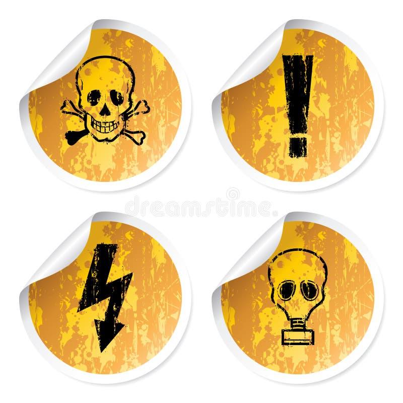 De stickers van waarschuwingen vector illustratie