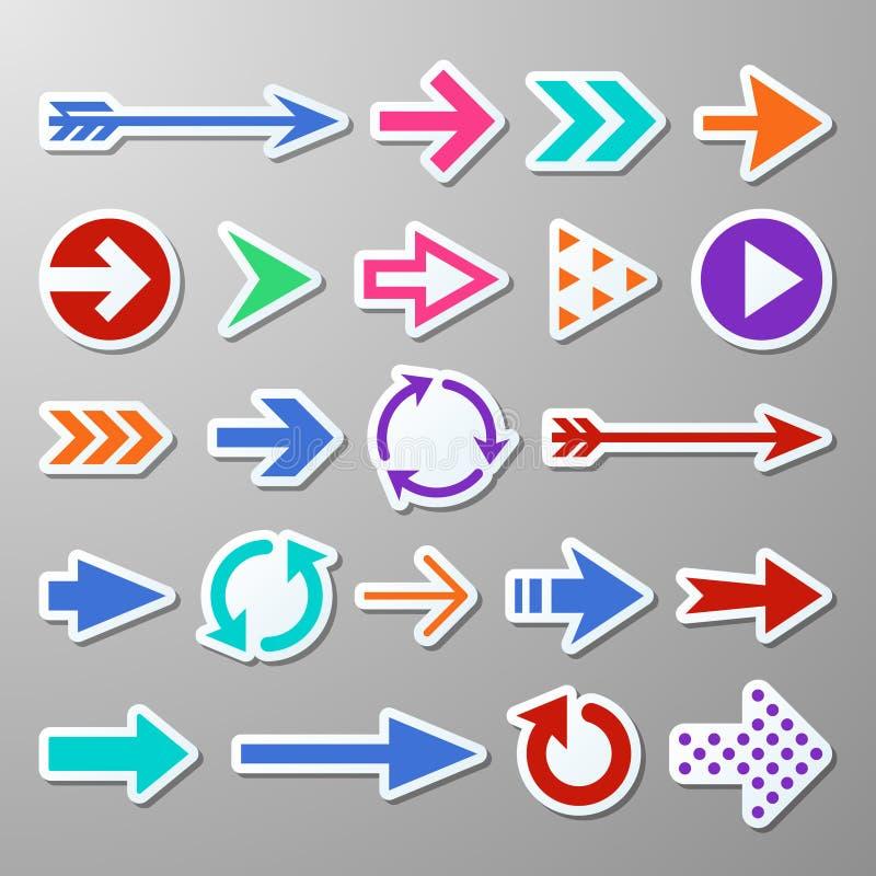 De stickers van de website juiste pijl Richtingpijlentekens De vectorsymbolen van de vooruitgangspijl vector illustratie