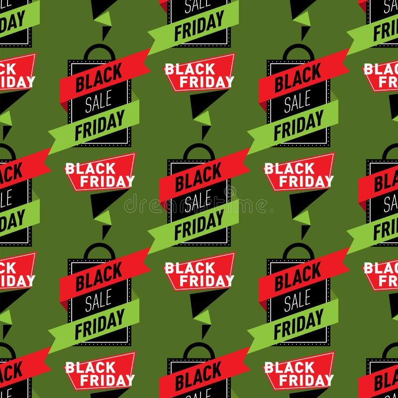 De de stickerspercenten van het verkoopkenteken voorzien de naadloze vectorillustratie patroon van achtergrond het winkelen zwart vector illustratie
