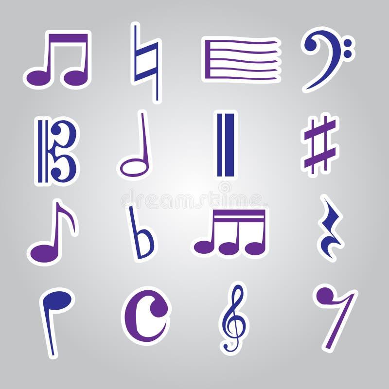 De Stickerspictogram Vastgestelde Eps10 Van De Muzieknota Stock Foto's