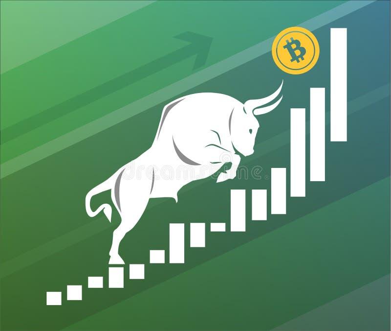De stier beweegt omhoog Bitcoin op grafiek, positieve cryptocurrencymarkt, groene achtergrond vector illustratie