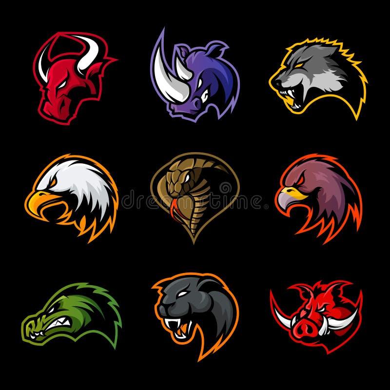 De stier, rinoceros, wolf, adelaar, cobra, alligator, panter, beerhoofd isoleerde vectorembleemconcept vector illustratie