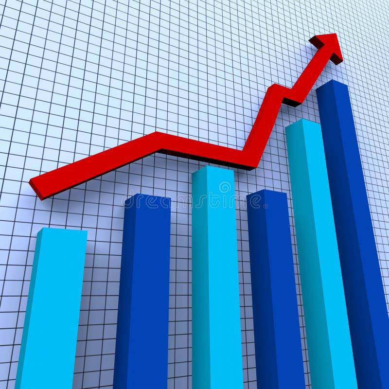 De stijgende Grafiek betekent Voortgangsrapport en Vooruitgang royalty-vrije illustratie