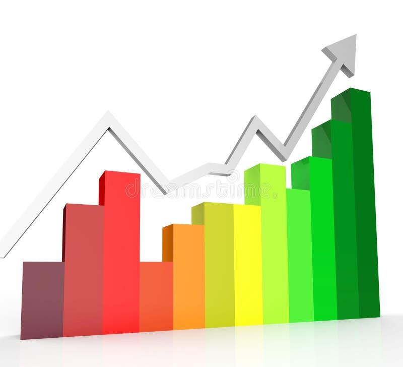 De stijgende Grafiek toont Financieel verslag en Biz vector illustratie