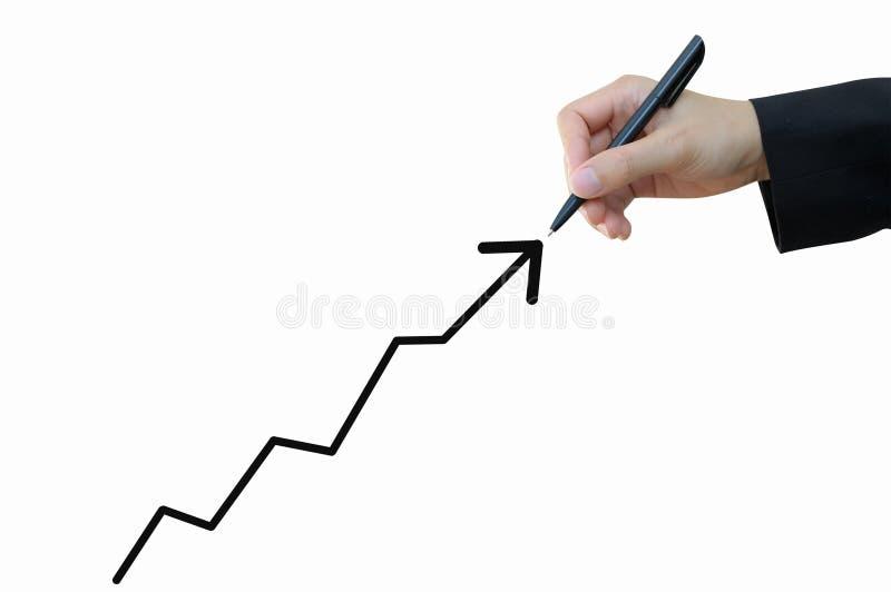 De stijgende grafiek van de bedrijfshandtekening royalty-vrije stock afbeelding
