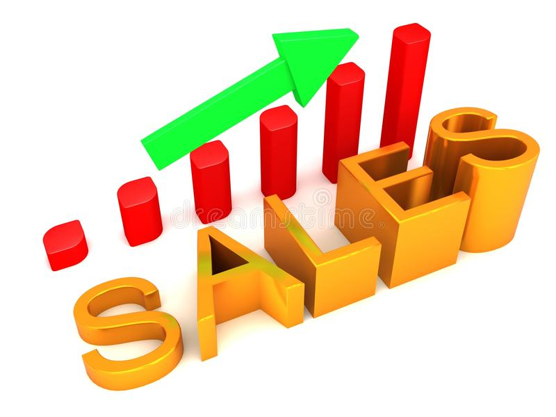 De stijgende Grafiek van de Verkoop stock illustratie