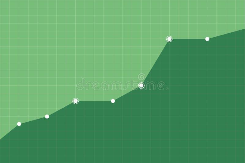 De stijgende groeitendens van zaken of organisatie op groene netvector als achtergrond royalty-vrije illustratie