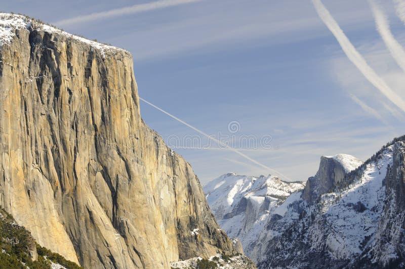De stijging van de zon van vallei Yosemite royalty-vrije stock afbeeldingen
