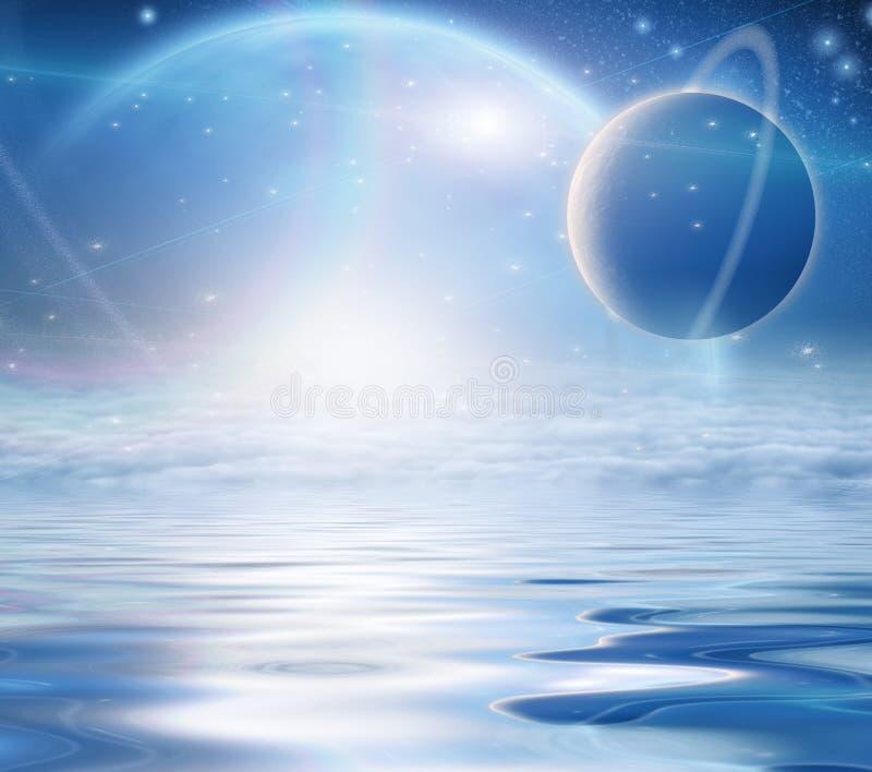 De Stijging van Exosolarplaneten over wateren royalty-vrije illustratie