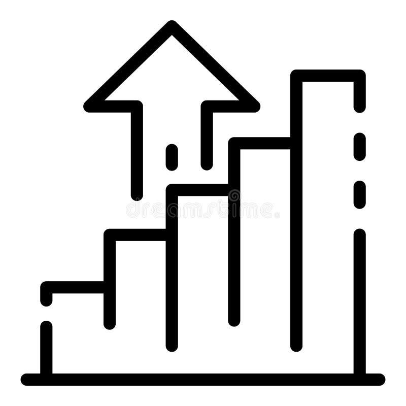 De stijging van de geldgrafiek op pictogram, overzichtsstijl royalty-vrije illustratie