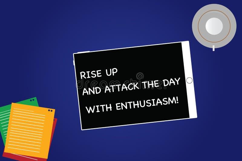 De Stijging van de handschrifttekst omhoog en valt de Dag met Enthousiasme aan Concept het betekenen is het enthousiast geïnspire stock illustratie
