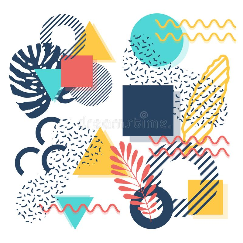 De stijl in affiche van Memphis met tropische bladeren royalty-vrije illustratie