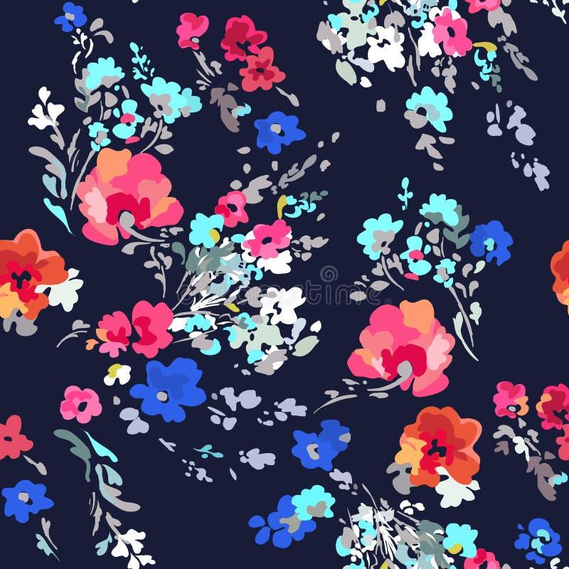 De stijl bloemendruk van de Ditsywaterverf - naadloze achtergrond stock illustratie