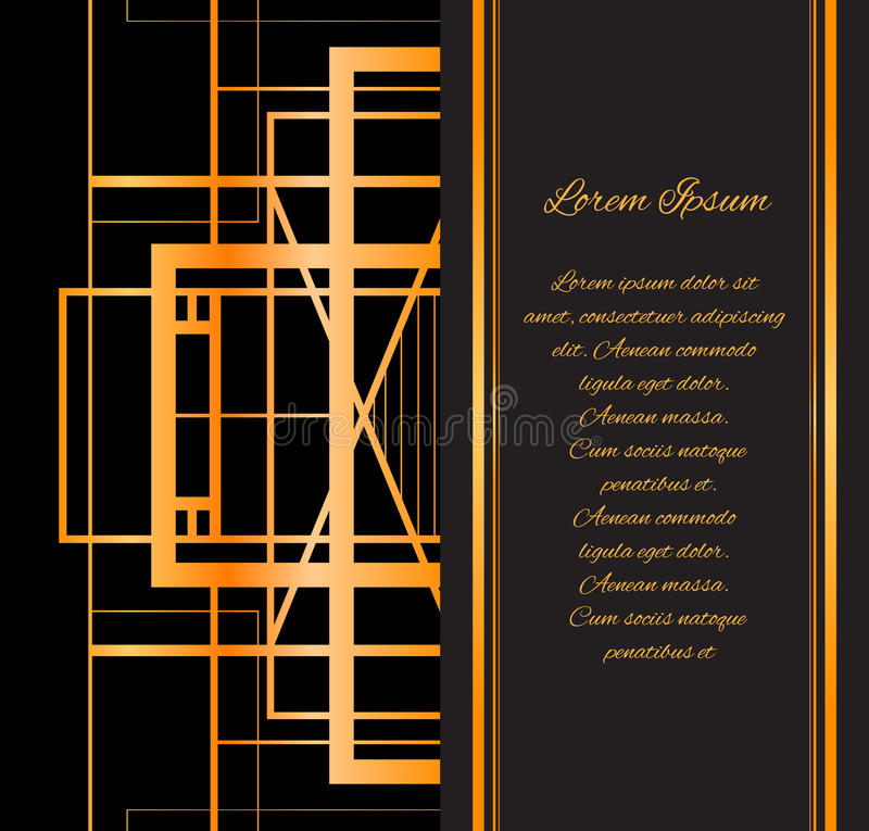 De stijl Gatsby van de malplaatjeuitnodiging met gouden patroon vector illustratie