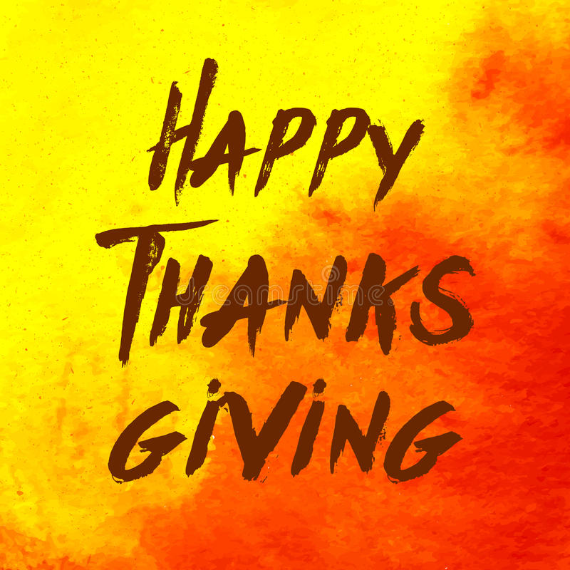 De stijl Gelukkig Thanksgiving day van het waterverfontwerp logotype, kenteken en pictogram Het gelukkige malplaatje van het Than vector illustratie