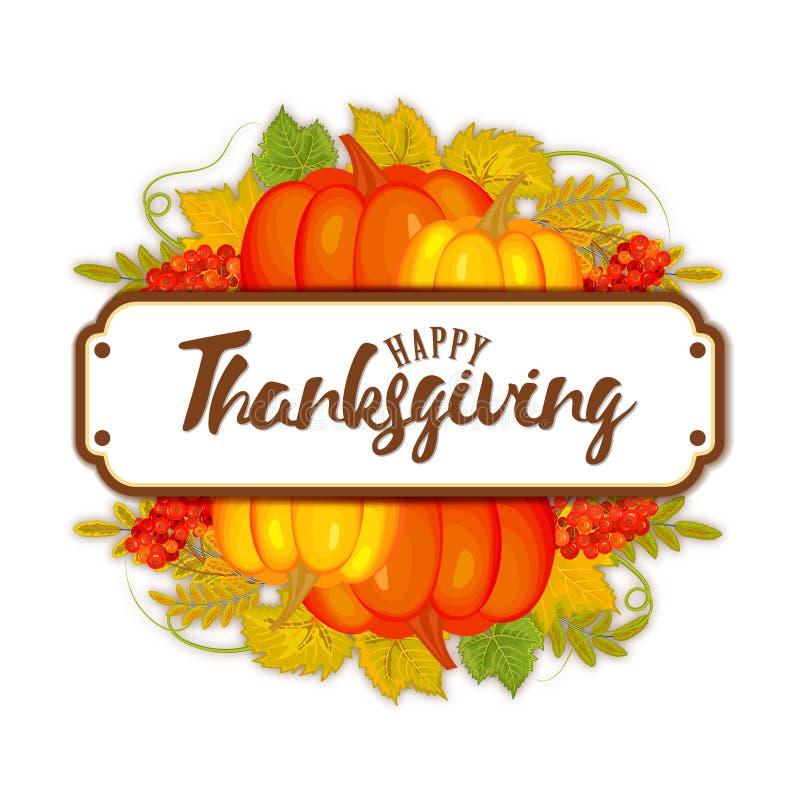 De stijl Gelukkig Thanksgiving day van het waterverfontwerp logotype, kenteken of pictogram Het gelukkige malplaatje van het Than vector illustratie