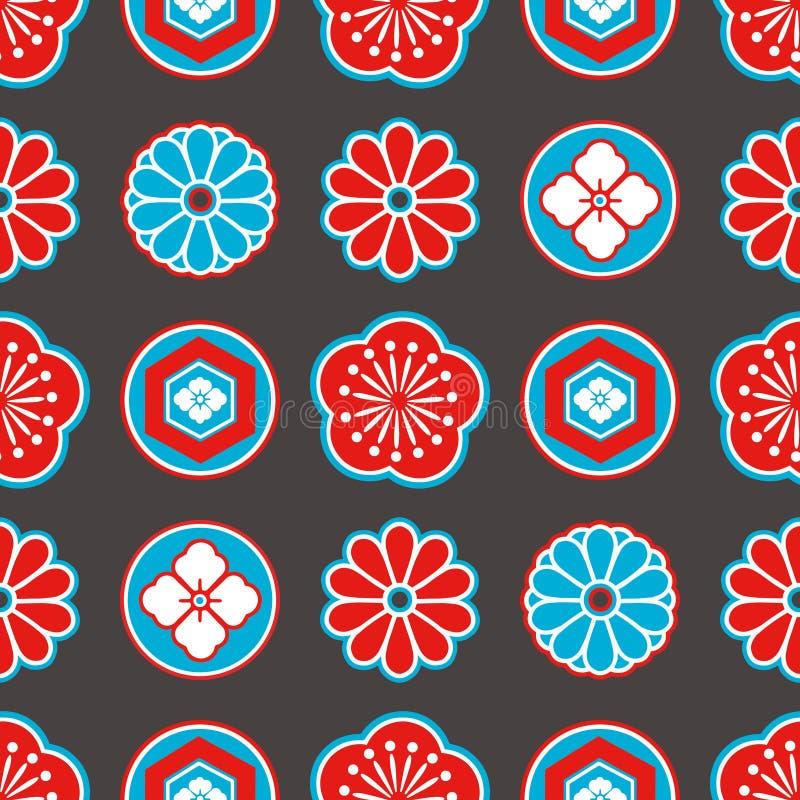 De stijl naadloos patroon van Azië met rode en blauwe Japanse sierbloemen en geometrische elementen op zwarte achtergrond stock illustratie
