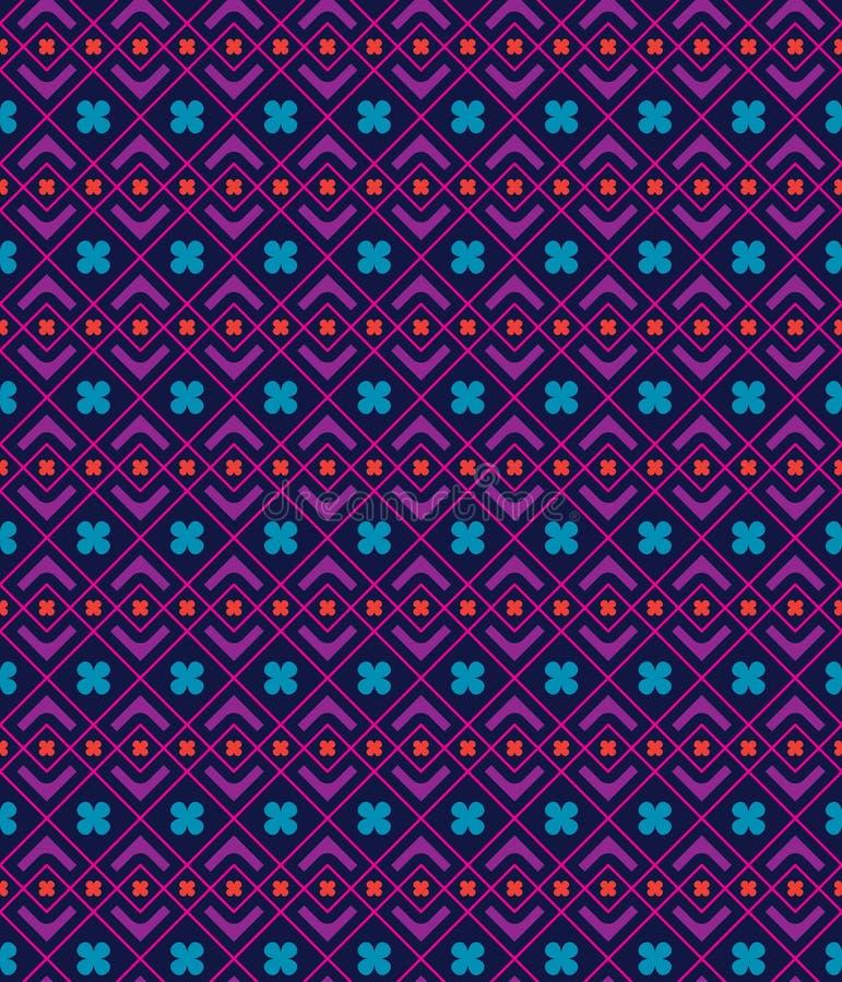 De stijl naadloos patroon van de driehoeks stammenbloem stock illustratie