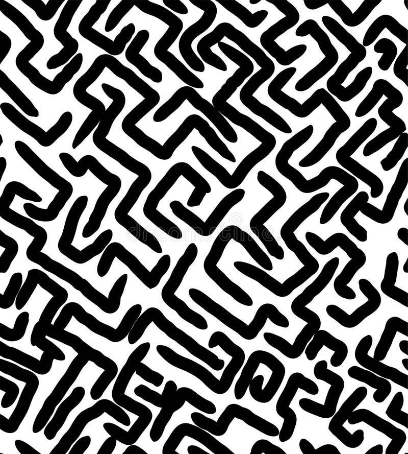 DE STIJL NAADLOOS PATROON VAN LABYRINTmemphis GEOMETRISCHE ELEMENTENtextuur JAREN '80-JAREN '90 ONTWERP OP WITTE ACHTERGROND vector illustratie