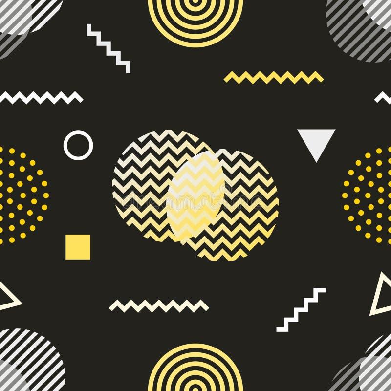 De stijl naadloos patroon van Memphis De zwarte witte gele jaren '80 als achtergrond, ontwerp van de jaren '90 retro manier Abstr vector illustratie