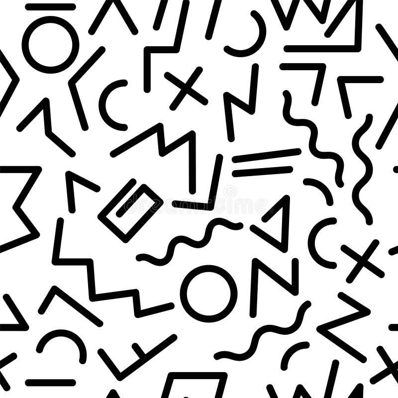 De stijl naadloos patroon van Memphis GEOMETRISCHE ELEMENTENtextuur JAREN '80-JAREN '90 ONTWERP OP WITTE ACHTERGROND royalty-vrije illustratie