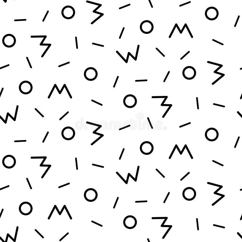 De stijl naadloos patroon van Memphis GEOMETRISCHE ELEMENTENtextuur JAREN '80-JAREN '90 ONTWERP OP WITTE ACHTERGROND stock illustratie