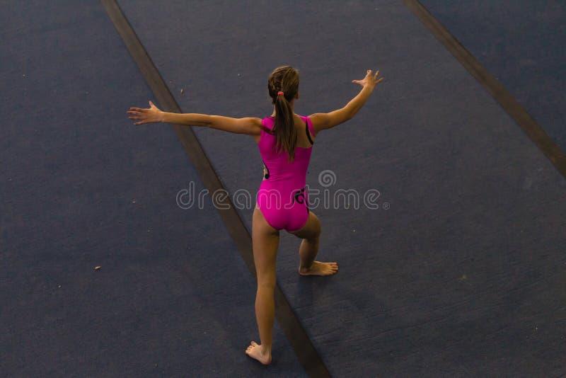 De Stijl van de de Vloerdans van het gymnastiekmeisje royalty-vrije stock afbeeldingen