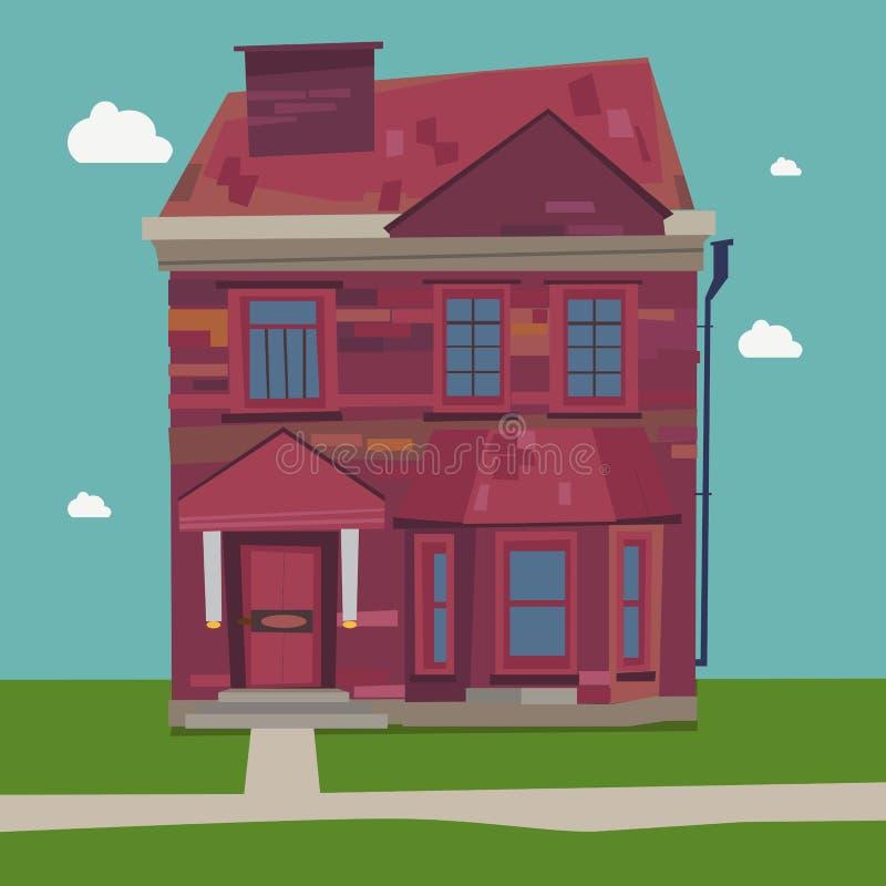 De stijl van Europa van het twee Verhaalhuis thuis vector illustratie