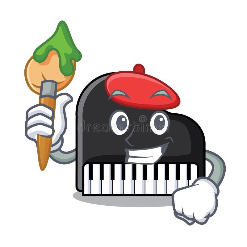 De stijl van het het karakterbeeldverhaal van de kunstenaarspiano stock illustratie