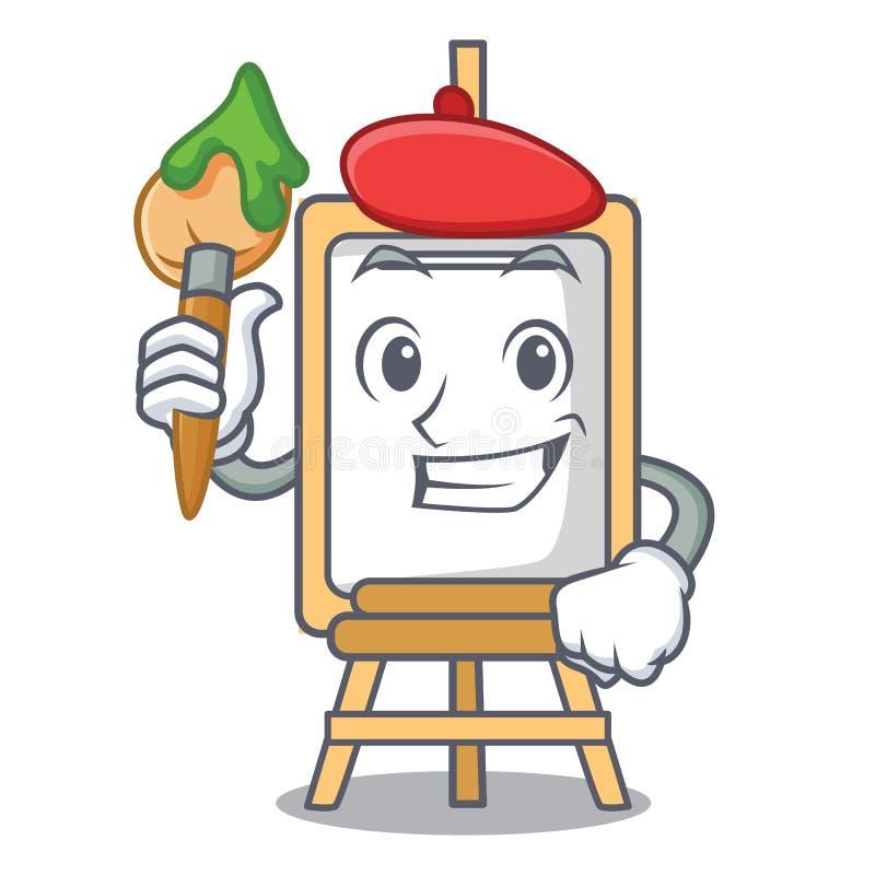 De stijl van het het karakterbeeldverhaal van de kunstenaarsschildersezel vector illustratie