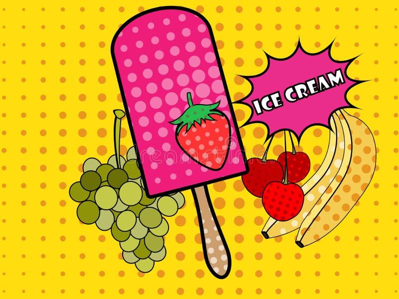 De stijl van het roomijspop-art Fruitroomijs popsicle Roomijs op een stok vector illustratie