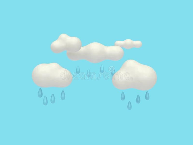 De stijl van het wolkenbeeldverhaal met de regenende minimale blauwe 3d achtergrond van de waterdaling geeft terug royalty-vrije illustratie