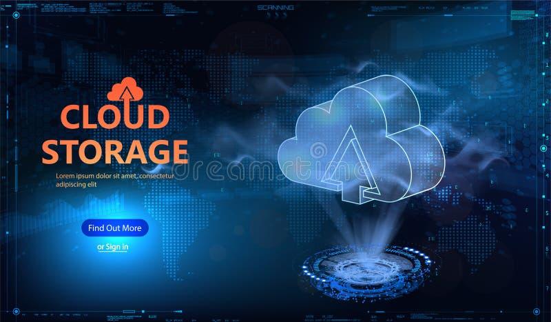 De stijl van HUD van de wolkentechnologie Futuristische wolk gegevensverwerking vector illustratie