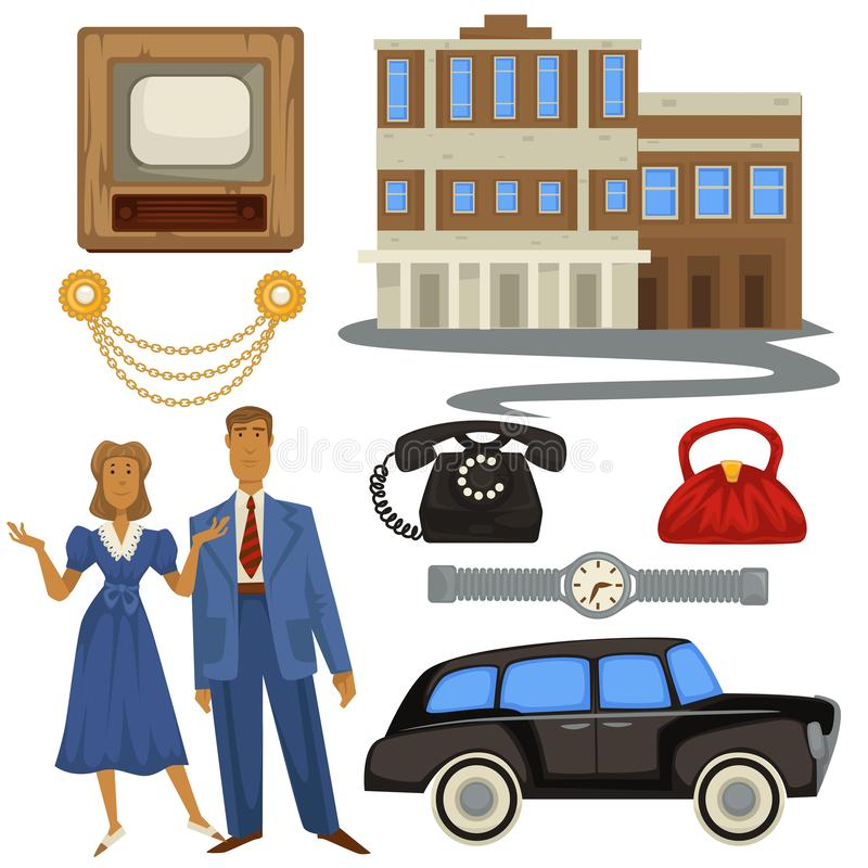 de stijl van de jaren '40manier en architectuur, tijdvaksymbolen geïsoleerde voorwerpen royalty-vrije illustratie