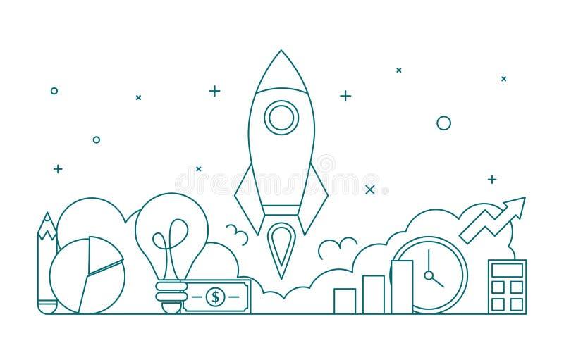 De stijl van de de lijnkunst van de startwebbanner Bedrijfsontwikkeling vector illustratie