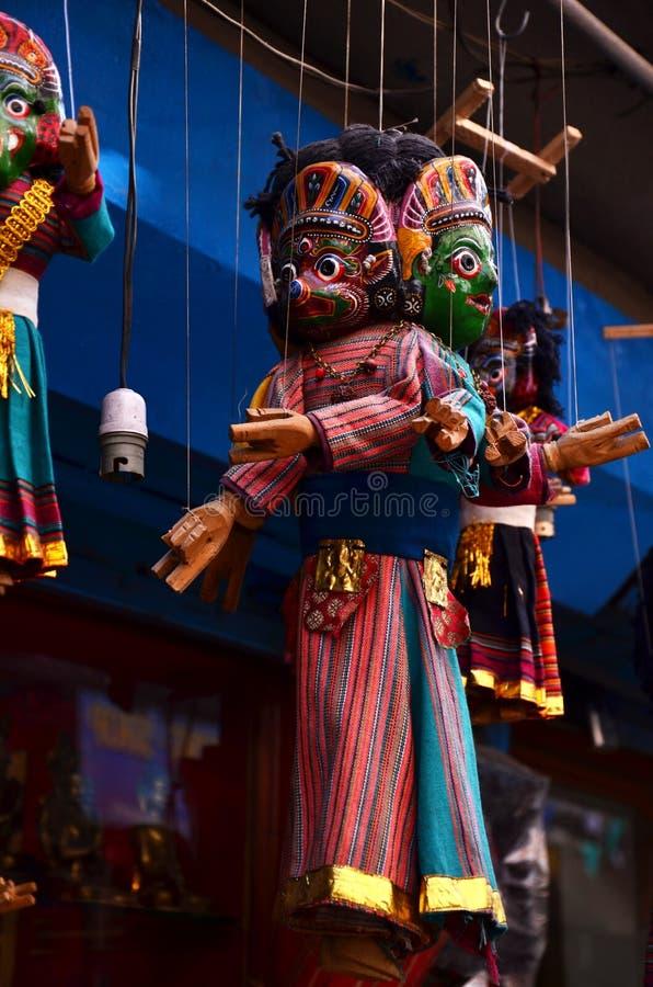 De Stijl van marionettennepal in Thamel Katmandu Nepal royalty-vrije stock foto