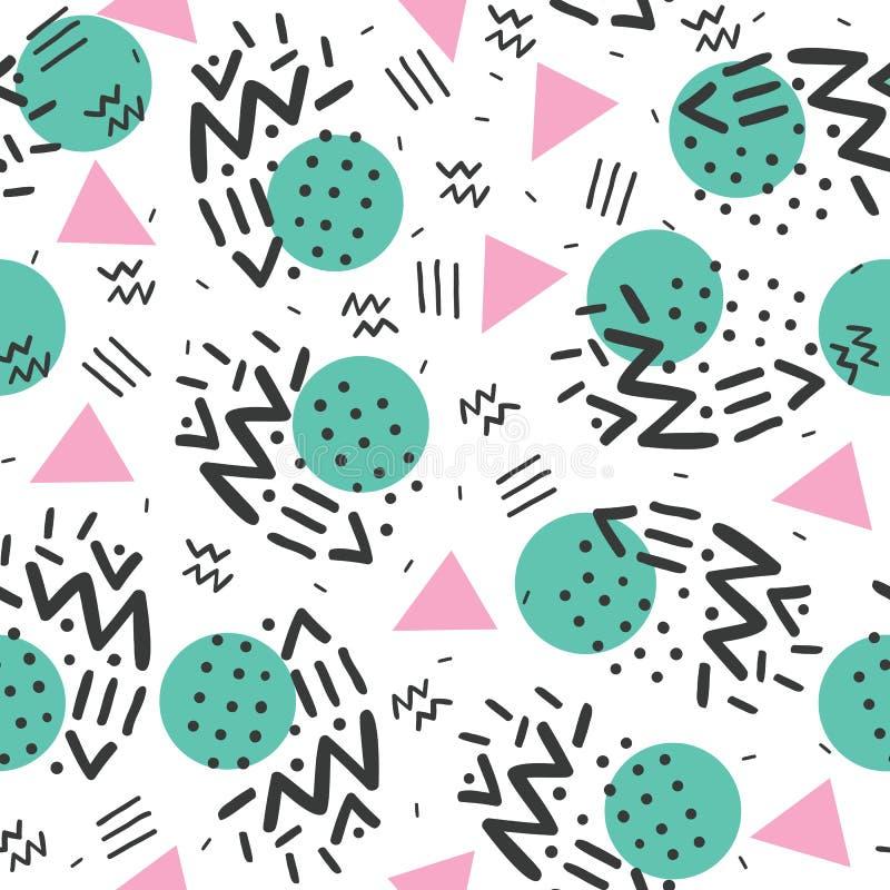 De stijl van Memphis, geometrisch patroon, vat naadloos patroon, retro de jaren '80stijl samen stock illustratie