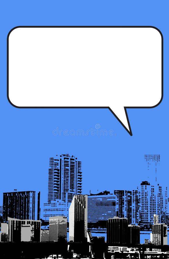 De stijl van Miami Florida grunge grafisch in blauw stock illustratie