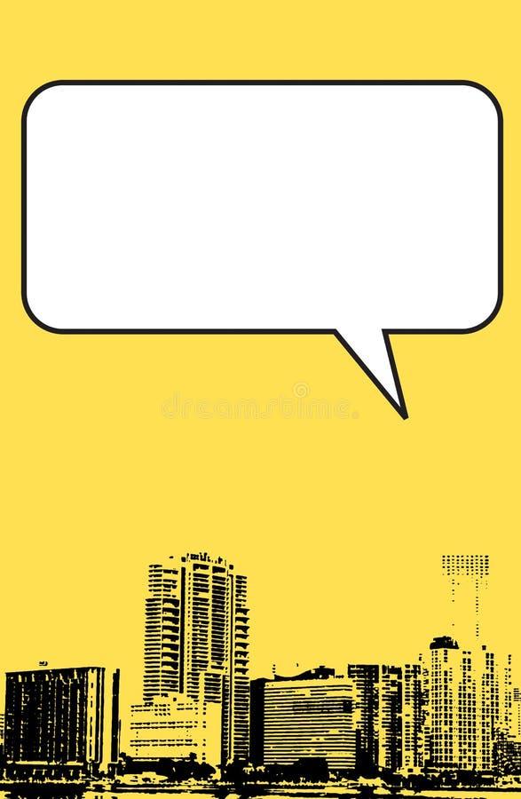 De stijl van Miami Florida grunge grafisch in geel stock illustratie