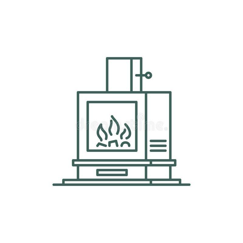 De stijl van de Minimalisticlijn het verwarmen fornuispictogram voor ui vector illustratie