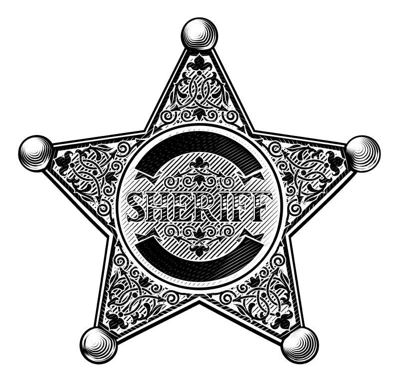 De Stijl van sheriffstar badge etched royalty-vrije illustratie